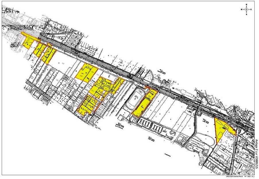Die Stadt Dresden will der Deutschen Bahn mehrere Grundstücke in Strehlen und Reick abkaufen, um an der Reicker Straße den Wissenschaftspark Ost einzurichten. Abb.: LHD