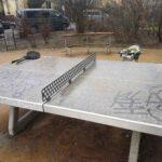 Tischtennis-Platte auf dem Spielplatz an der Draesekestraße in Blasewitz. Foto: Heiko Weckbrodt