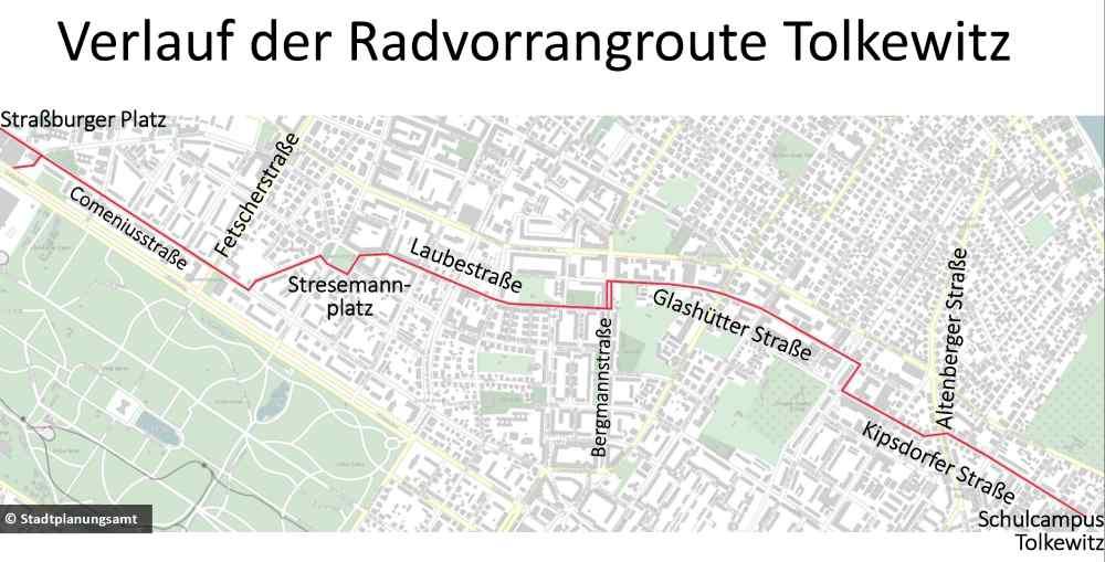 Die Karte zeigt den geplanten Verlauf der Fahrradstraße Ost in Dresden. Karte: Stadtplanungsamt LHD