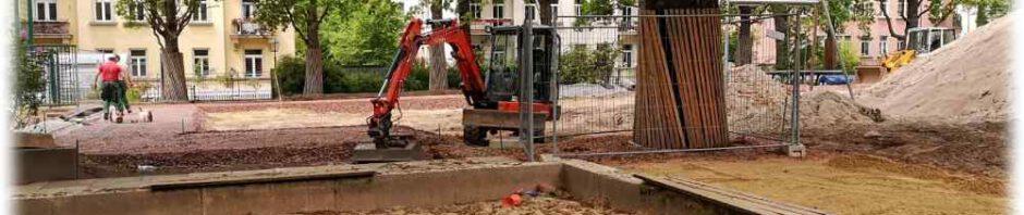Die Bauarbeiten im Seidel-Park sind... nun ja - vielleicht nicht so ganz in vollem Gange. Foto; RD