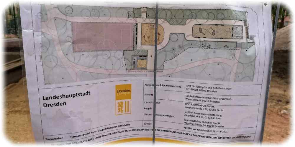 Der Plan zeigt links (rosa) den Ballplatz, unten ist der Sandkasten, der auch heute schon existiert, oberhalb entsteht eine Kleinkind-Kombination aus Sandspiel und Klettergerüsten. Weiter rechts, vor den ebenfalls bereits bestehenden Tischtennisplatten, entsteht eine größere Kletteranlage für ältere Kinder. Repro: RD